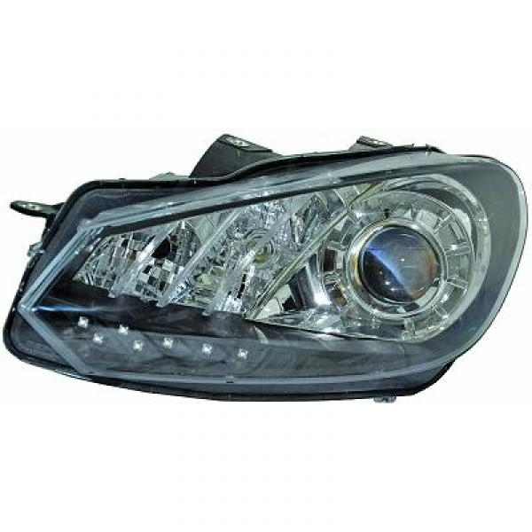 SET FAROS DE DISEÑO  GOLF 6, 08->> CRISTAL CLARO/NEGRO; REAL LED